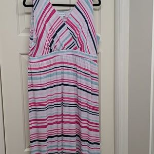 Kim Rogers Pink and Blue Maxi Dress size XL